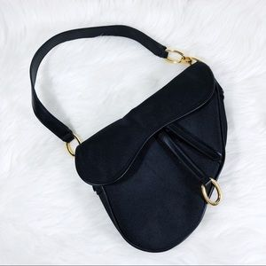 Y2K Black & Gold O-Ring Hardware Saddle Bag